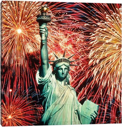 1980s Fourth Of July Fireworks And The Statue Of Liberty Canvas Art Print