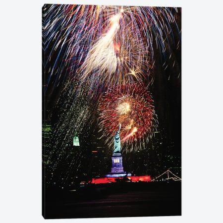 1980s Statue Of Liberty Fireworks New York NY USA Canvas Print #VTG703} by Vintage Images Art Print