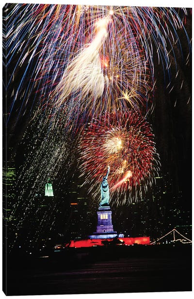 1980s Statue Of Liberty Fireworks New York NY USA Canvas Art Print