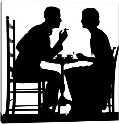 1920s-1930s Silhouette Of Anonymous Couple Sitting At Tea Table With Teacups Man Smoking Cigarette Canvas Art Print