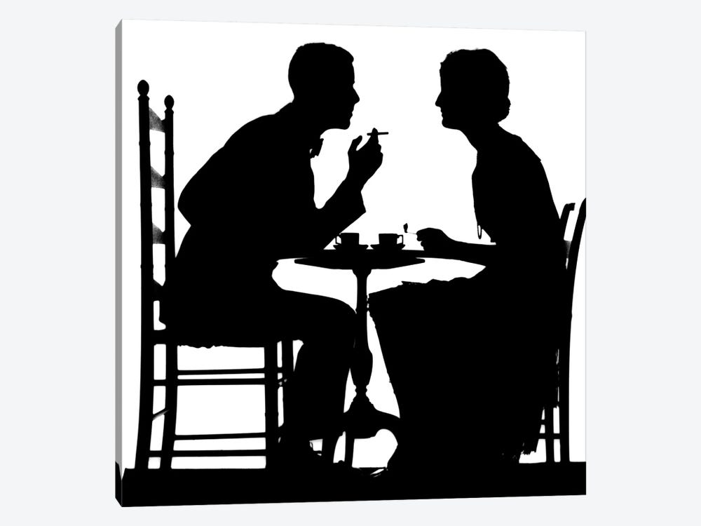 1920s-1930s Silhouette Of Anonymous Couple Sitting At Tea Table With Teacups Man Smoking Cigarette by Vintage Images 1-piece Art Print