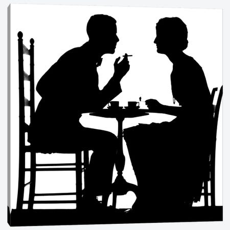 1920s-1930s Silhouette Of Anonymous Couple Sitting At Tea Table With Teacups Man Smoking Cigarette 3-Piece Canvas #VTG70} by Vintage Images Canvas Art Print