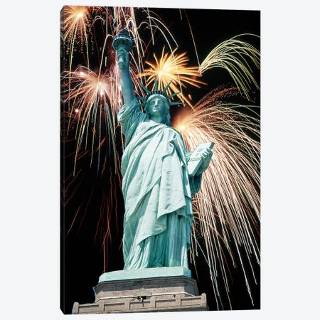 Fireworks Explode Behind Statue Of Liberty New York Ny Canvas Print #VTG711} by Vintage Images Canvas Wall Art