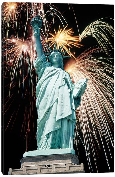 Fireworks Explode Behind Statue Of Liberty New York Ny Canvas Art Print