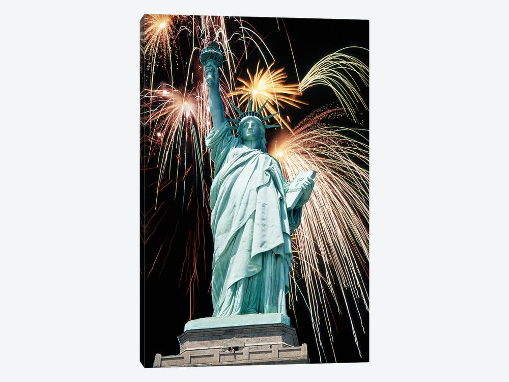 Fireworks Explode Behind Statue Of Liberty New York Ny by Vintage Images 1-piece Art Print