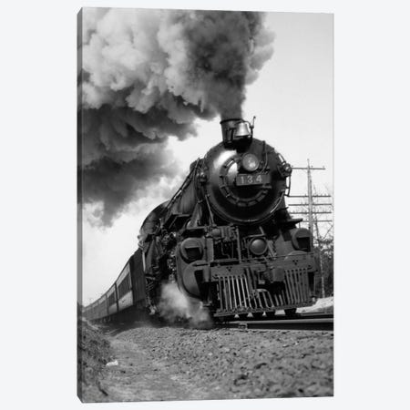 1920s-1930s Steam Engine Pulling Passenger Train Smoke Billowing From Exhaust Stack Canvas Print #VTG71} by Vintage Images Art Print