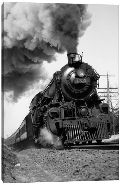 1920s-1930s Steam Engine Pulling Passenger Train Smoke Billowing From Exhaust Stack Canvas Art Print