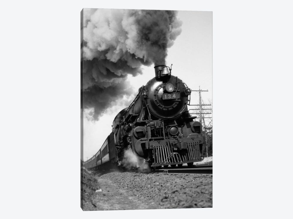 1920s-1930s Steam Engine Pulling Passenger Train Smoke Billowing From Exhaust Stack by Vintage Images 1-piece Canvas Wall Art