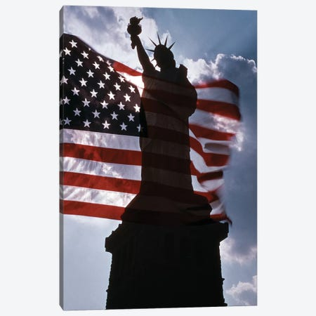 Statue Of Liberty New York Silhouetted Against American Flag And Clouds Canvas Print #VTG720} by Vintage Images Canvas Art Print