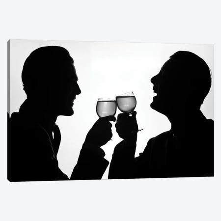 1950s Silhouette Two Happy Men Making Toast With Glasses Of Wine Canvas Print #VTG723} by Vintage Images Canvas Print