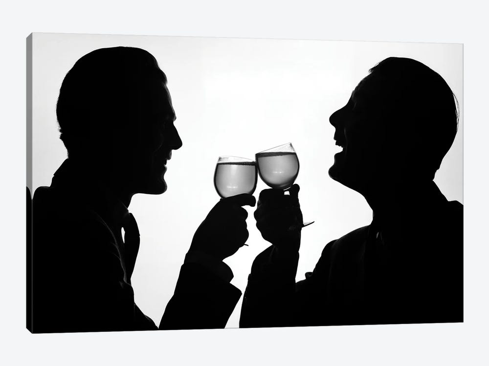 1950s Silhouette Two Happy Men Making Toast With Glasses Of Wine by Vintage Images 1-piece Canvas Art