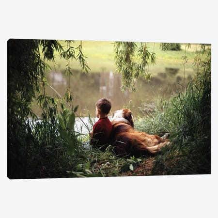 1960s-1970s Boy Fishing With His Dog By His Side 3-Piece Canvas #VTG724} by Vintage Images Canvas Art