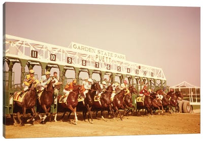 1960s Eleven Race Horses And Jockeys Coming Out Of Starting Gate Canvas Art Print