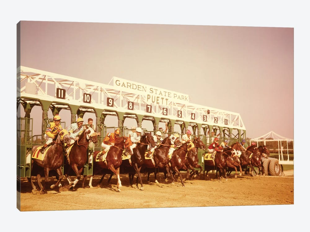 1960s Eleven Race Horses And Jockeys Coming Out Of Starting Gate by Vintage Images 1-piece Canvas Art