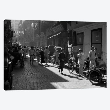 1920s-1930s Street Scene Rickshaws Waiting For Hire Hong Kong China Canvas Print #VTG72} by Vintage Images Canvas Print