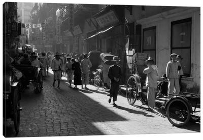 1920s-1930s Street Scene Rickshaws Waiting For Hire Hong Kong China Canvas Art Print