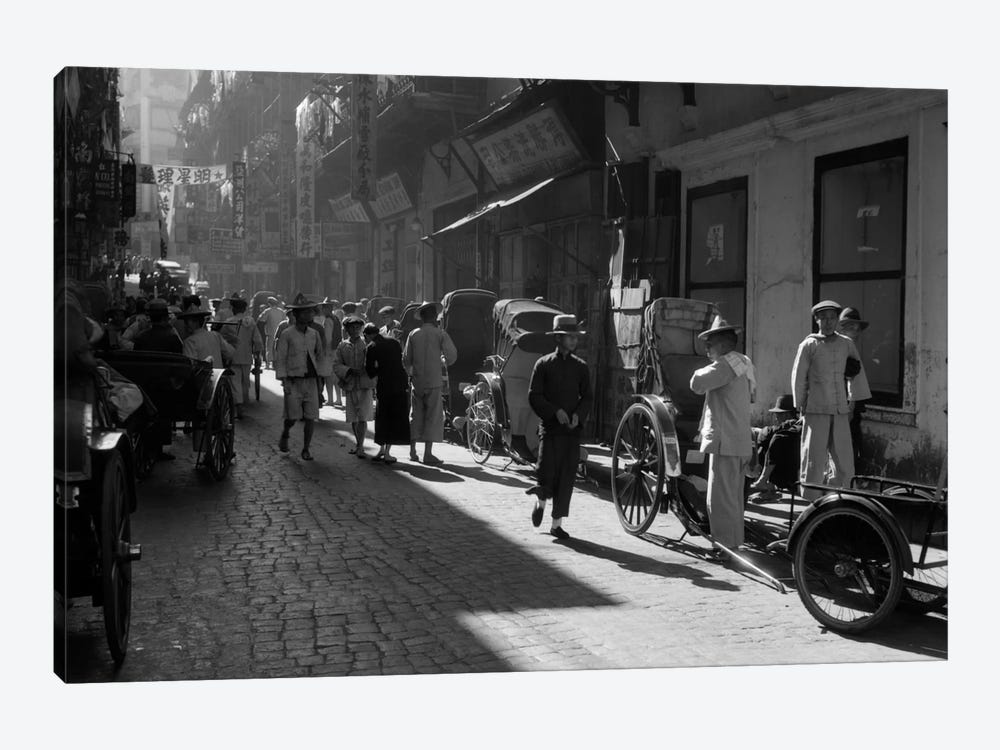 1920s-1930s Street Scene Rickshaws Waiting For Hire Hong Kong China by Vintage Images 1-piece Canvas Print