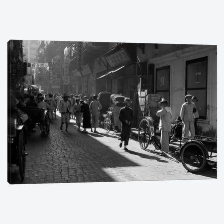 1920s-1930s Street Scene Rickshaws Waiting For Hire Hong Kong China Canvas Print #VTG72} by Vintage Images Canvas Print