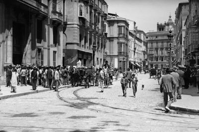 1920s 1930s Street Scene With Crowd In Front Vintage
