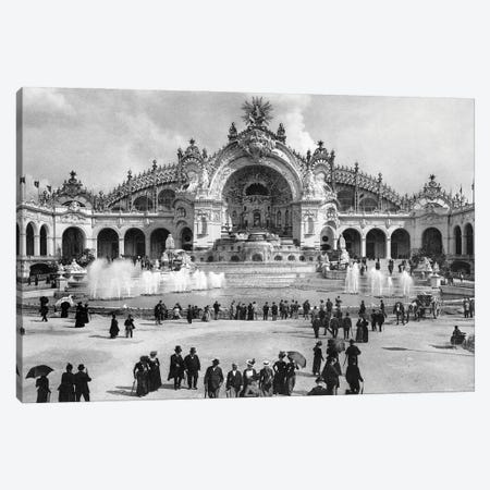 1900 Chateau Of Water At The Paris Exposition With Palace Of Electricity Behind Universelle World's Fair Paris France Canvas Print #VTG731} by Vintage Images Canvas Wall Art