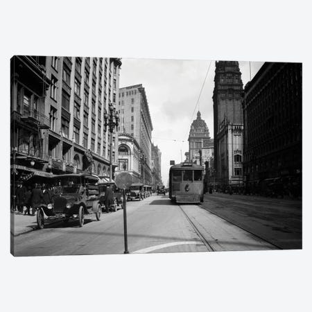 1920 Interurban Trolley On Market Street San Francisco California USA Canvas Print #VTG733} by Vintage Images Canvas Art