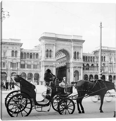 1920s 1930s Horse And Carriage Awaiting Tourists Farmers Shopping Arcade Galleria Vittorio Emmanuel Milan Italy Canvas Art Print