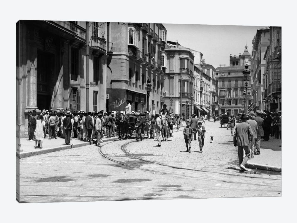 1920s-1930s Street Scene With Crowd In Front Of Hotel Regina Malaga Spain by Vintage Images 1-piece Canvas Wall Art