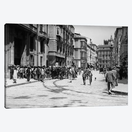 1920s-1930s Street Scene With Crowd In Front Of Hotel Regina Malaga Spain Canvas Print #VTG73} by Vintage Images Art Print