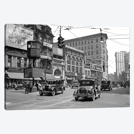 1920s Automobile And Pedestrian Traffic Busy Five Points Intersection In Atlanta Georgia USA Canvas Print #VTG740} by Vintage Images Canvas Art Print