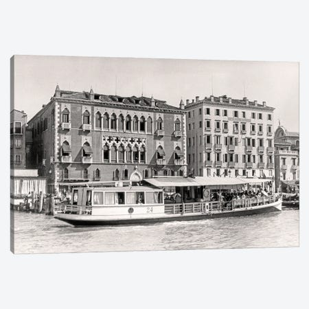 1920s Ferry Boat Delivering People Guests To Luxury Hotel Royal Danieli Formerly Late 14Th Century Palazzo Dandolo Venice Italy Canvas Print #VTG745} by Vintage Images Canvas Wall Art