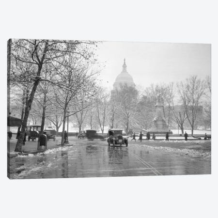 1920s-1930s The Capitol Building And Old Car Traffic In Winter Washington Dc USA Canvas Print #VTG74} by Vintage Images Canvas Artwork