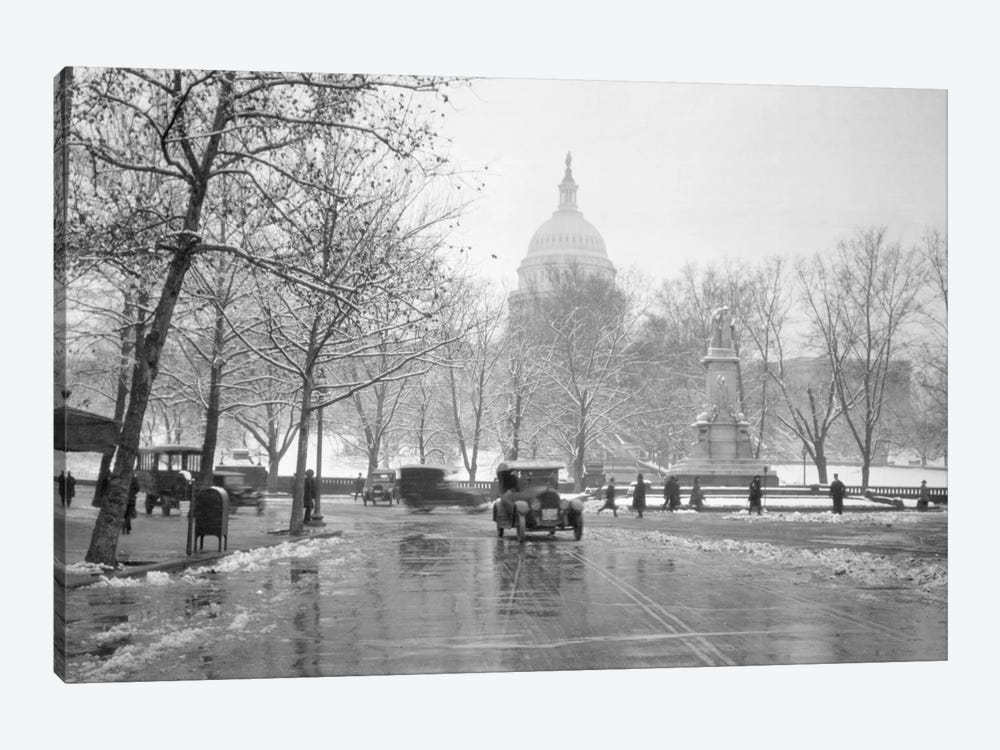 1920s-1930s The Capitol Building And Old Car Traffic In Winter Washington Dc USA 1-piece Canvas Art Print