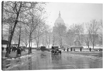 1920s-1930s The Capitol Building And Old Car Traffic In Winter Washington Dc USA Canvas Art Print