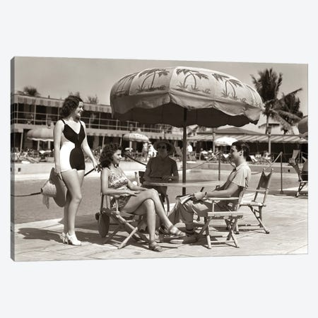 1930s 1940s 3 Women Bathing Suits Single Man Casual Clothes Sitting Talking Under Pool Side Umbrella Miami Beach Florida USA Canvas Print #VTG753} by Vintage Images Canvas Artwork