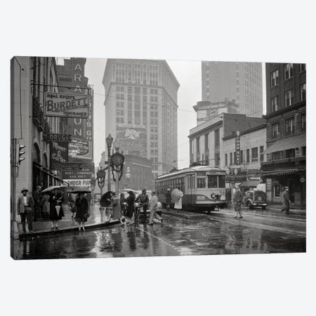 1930s 1940s Peachtree Street Shops Signs Cars Public Trolley And Pedestrians Shoppers Walking In The Rain Atlanta Georgia USA Canvas Print #VTG755} by Vintage Images Canvas Art Print