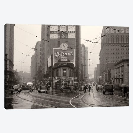 1930s 1940s Rainy Day Pedestrians Cars Trolly Tracks Intersection Peachtree Street And Forsyth Business District Atlanta Ga USA Canvas Print #VTG756} by Vintage Images Canvas Art Print