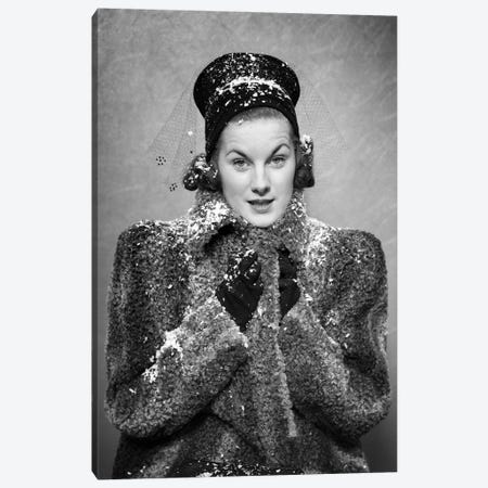 1930s 1940s Woman Wearing Persian Lamb Coat Hat Bundling Up Against Falling Snow Flakes Looking At Camera Canvas Print #VTG758} by Vintage Images Canvas Wall Art