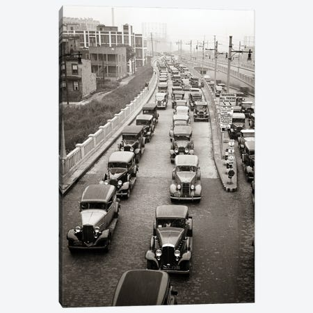 1930s Afternoon Rush Hour Traffic Jammed Cars Leaving Pulaski Skyway Heading For The Holland Tunnel Jersey City New Jersey USA Canvas Print #VTG759} by Vintage Images Canvas Artwork