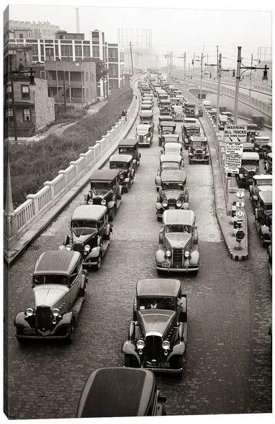 1930s Afternoon Rush Hour Traffic Jammed Cars Leaving Pulaski Skyway Heading For The Holland Tunnel Jersey City New Jersey USA Canvas Art Print