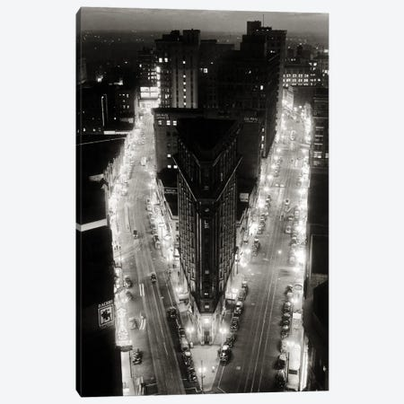 1930s Elevated Night View Of Downtown Intersection Of Broad And Peachtree The Triangular Flatiron Building Atlanta Georgia USA Canvas Print #VTG762} by Vintage Images Canvas Art Print