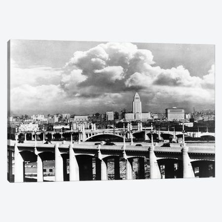 1930s Skyline With Los Angeles Bridge In Foreground Los Angeles California USA Canvas Print #VTG763} by Vintage Images Canvas Art Print