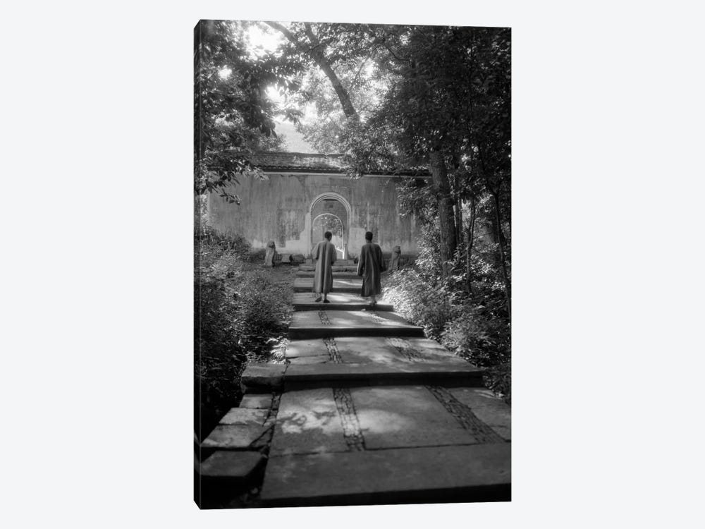 1920s-1930s Two Chinese Men In Robes Walking Up Quiet Garden Path 1-piece Canvas Print