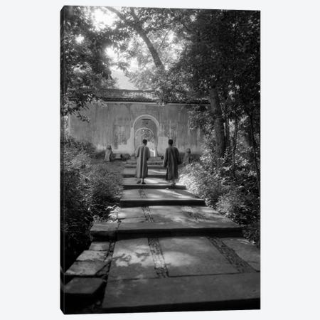 1920s-1930s Two Chinese Men In Robes Walking Up Quiet Garden Path Canvas Print #VTG76} by Vintage Images Canvas Wall Art