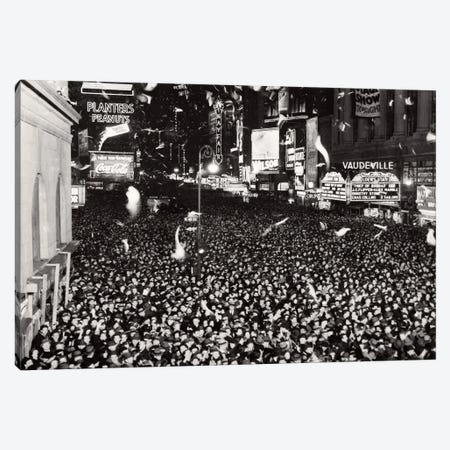 1940s January 1 1940 Jammed Packed Crowd Of People Men Women Teenagers Celebrating New Year Times Square New York USA Canvas Print #VTG773} by Vintage Images Canvas Art