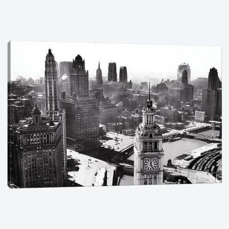 1940s Looking Sw From Tribune Tower Wacker Drive Along Chicago River Wrigley Building Tower In Foreground Chicago Illinois USA Canvas Print #VTG774} by Vintage Images Art Print