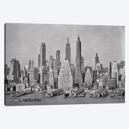 1940s Skyline Of Downtown Financial District NYC Spires Of Woolworth Building Irving Trust And 40 Wall Street From Brooklyn Canvas Print #VTG778} by Vintage Images Canvas Art