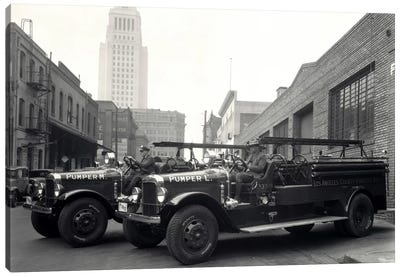 1920s-1930s Two Fire Trucks With Los Angeles City Hall California USA In Background Canvas Art Print