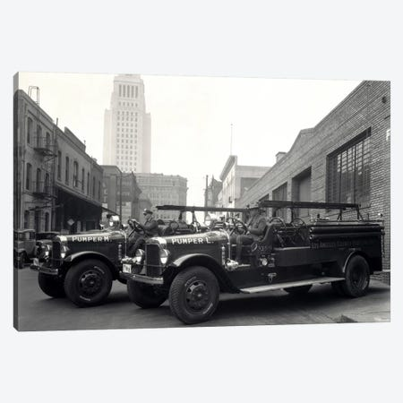 1920s-1930s Two Fire Trucks With Los Angeles City Hall California USA In Background Canvas Print #VTG77} by Vintage Images Canvas Artwork