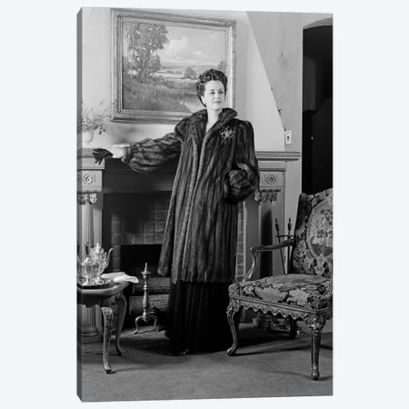 1940s Woman In Formal Living Room Standing In Front Of Fireplace Wearing Full-Length Fur Looking At Camera Canvas Print #VTG781} by Vintage Images Canvas Print