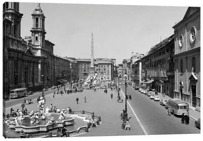1950s 1960s Piazza Navona View Of City Square With Fountains Rome Italy Canvas Art Print